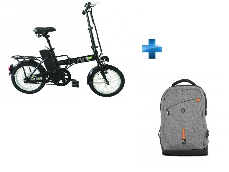 Vélo Électrique - Noir - REVTRO15 + Sac à dos batterie intégrée Gris - FUSAC00002