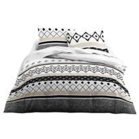 Today - Parure housse de couette + taies 100% coton ligne motif ethnique 240x220cm noir/blanc Grafismnc