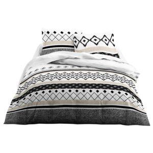 Today - Parure housse de couette + taies 100% coton ligne motif ethnique 240x220cm noir/blanc Grafism 220cm x 220cm