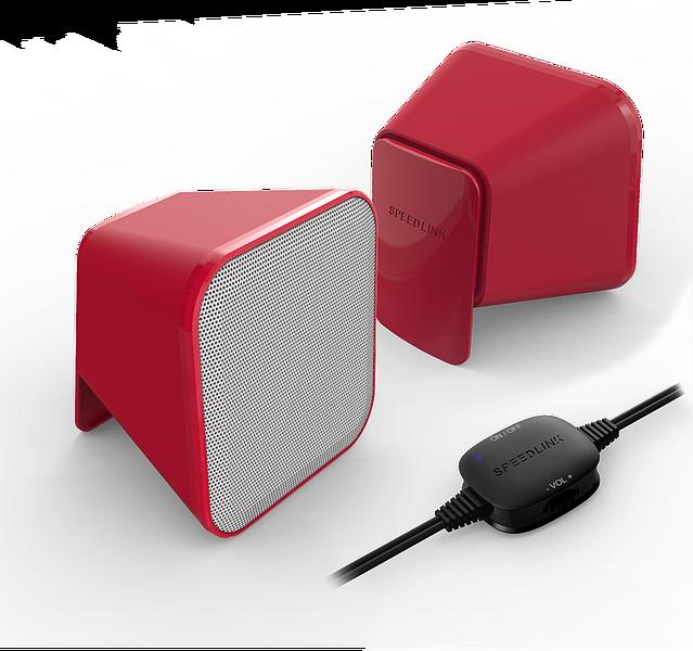 SPEEDLINK SL-810002-RDWE SNAPPY rouge et blanc Haut-parleurs stéréo actifs 6W RMS câble de 1,25m. Alimentation via USB.