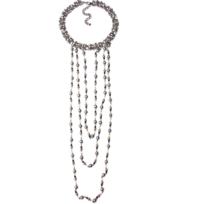 Collection Zanzybar - Collier ras de cou et sautoir en perles noires nacrées Kenza