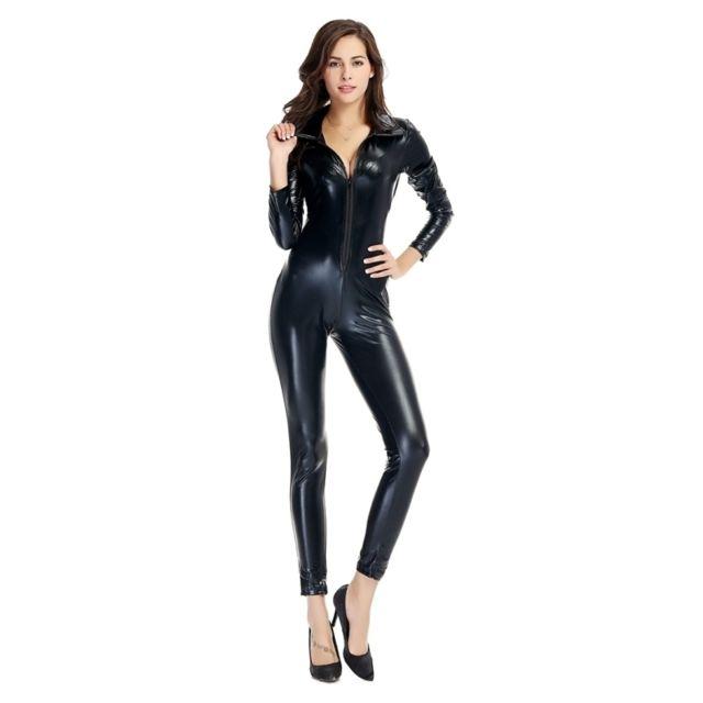 Wewoo - Déguisement noir Halloween Costume Hommes et Femmes Discothèque  Pole Danse Vêtements En Cuir Verni 7bbd78b3b02