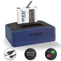 mtb more energy® - Batterie 1250mAh, + Double Chargeur USB, pour GoPro Hero 5 avec firmware jusqu'à la version 1.55 - Cable Micro-USB inclus