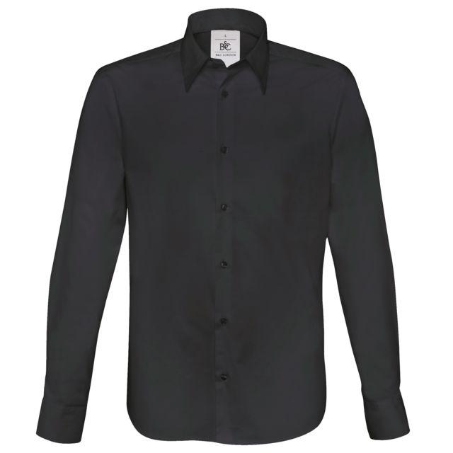 B&C PRO B&C London - Chemise à manches longues en popeline - Homme 2XL, Noir Utrw3040