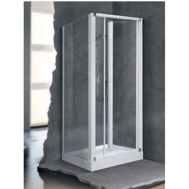 Novellini - Porte Pliante Transparente Profil Blanc Lunes S96