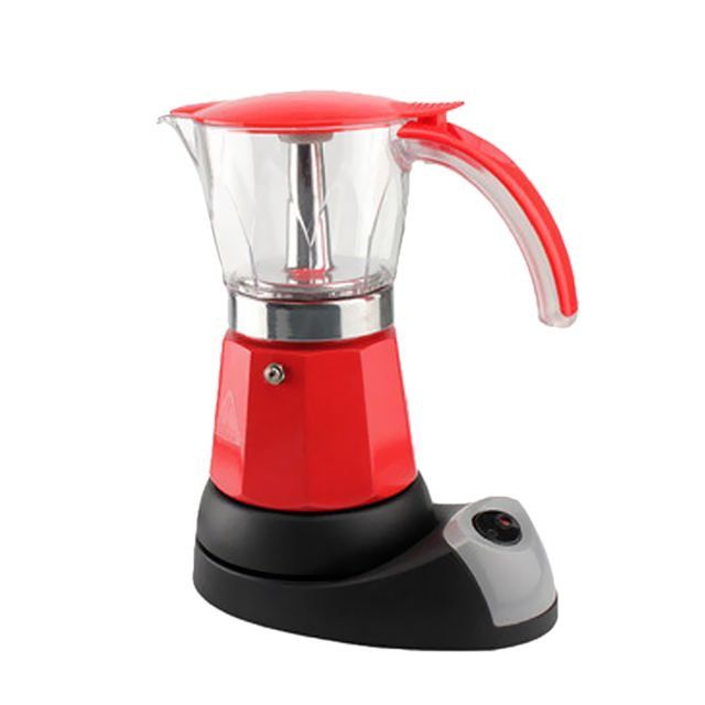 Portable 6 tasses espresso électrique machine à café percolateur moka pot rouge