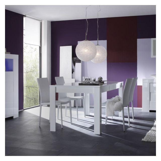 Dansmamaison Table de repas laqué Blanc Brillant - Fatisca - L 180 x l 90 x H 79 cm