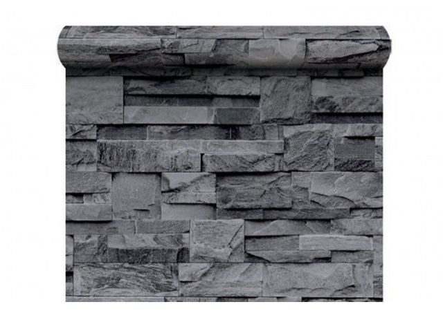 declikdeco papier peint pierre de parement grise pas cher achat vente papier peint. Black Bedroom Furniture Sets. Home Design Ideas