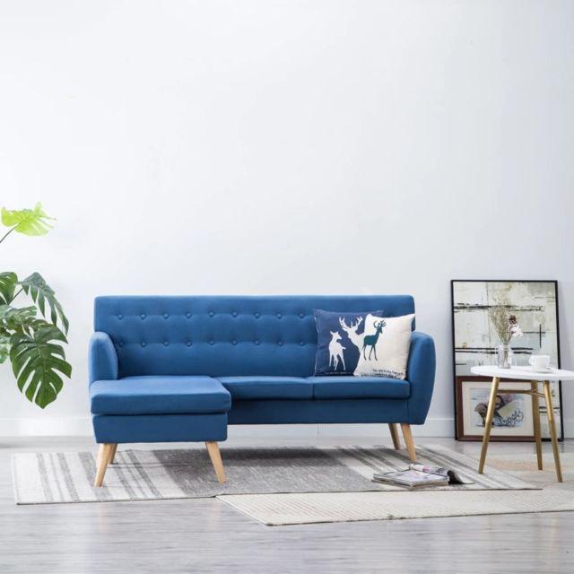 Stylé Meubles ligne Monrovia Canapé d'angle Revêtement en tissu 171,5x138x81,5 cm Bleu