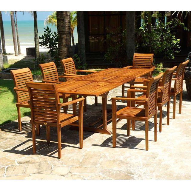 Wood En Stock - Salon jardin en teck huilé livré avec 8 fauteuils ...