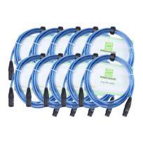 Pronomic - Stage Xfxm-blue-2.5 Câble Micro Xlr 2.5m bleu métallique. Lot de 10