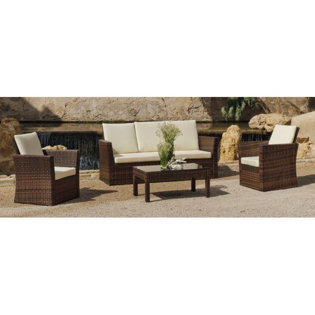HEVEA JARDIN Canapé 3 places + 2 fauteuils + 1 table basse - résine marron