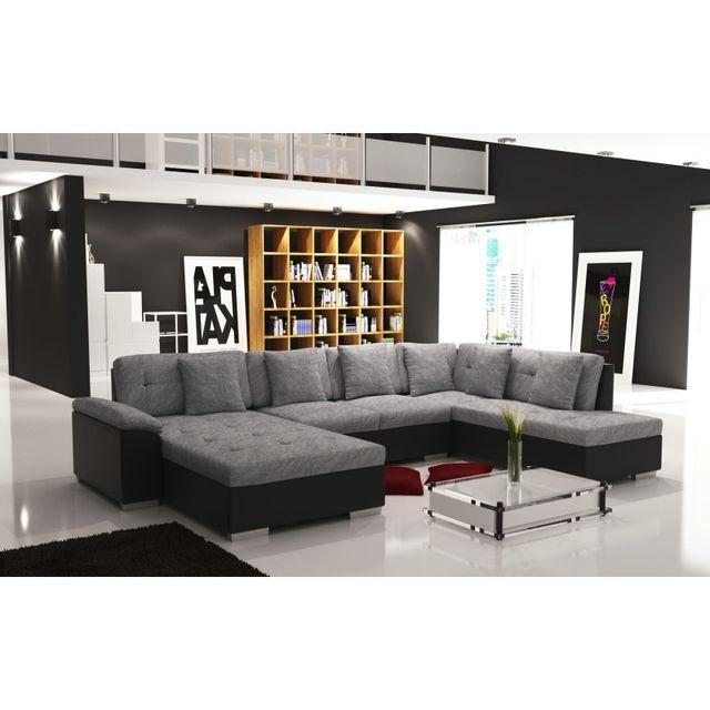meublesline canap dangle en u panoramique smile gris et noir grisnoir - Canape D Angle Noir Et Blanc Pas Cher