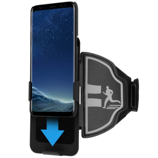 Avizar - Brassard sport Galaxy S8 Plus + Coque amovible Noir Protection anti-humidité