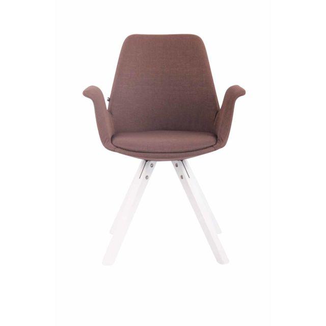 Admirable Chaise de salle à manger, de cuisine, de salon Amsterdam en tissu blanc carré