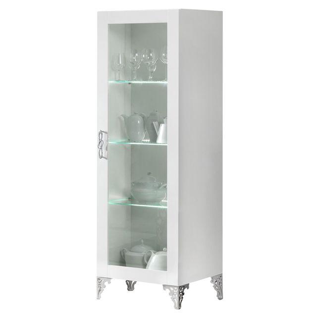Comforium Vitrine à 1 porte 60 x 180 cm Led inclus et pieds chromé coloris blanc laqué