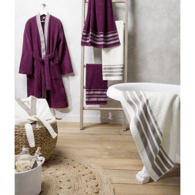 TEX HOME Peignoir KIMONO en coton Peignoir KIMONO en coton S/M - violet