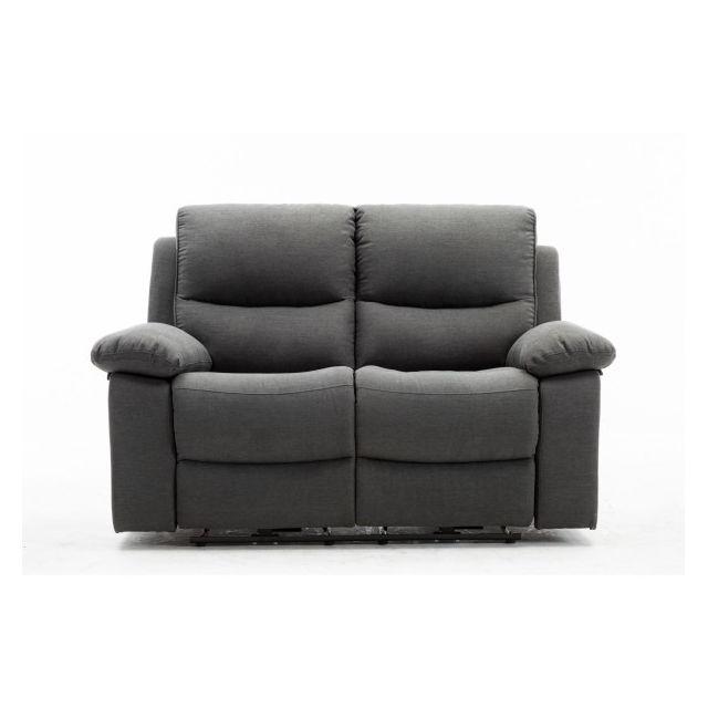 Moloo Keaton-canapé 2 places tissu gris anthracite 2 Relax électrique