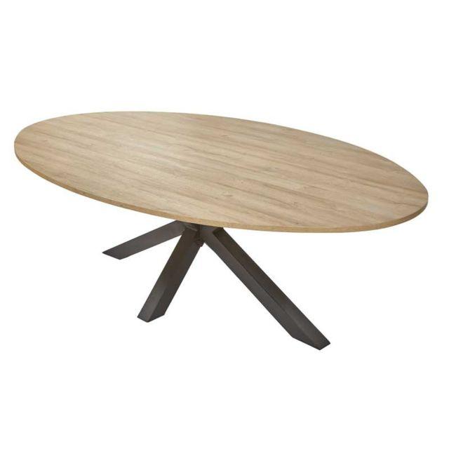 Tousmesmeubles Table de repas ovale Chêne naturel - Waterloo n°2
