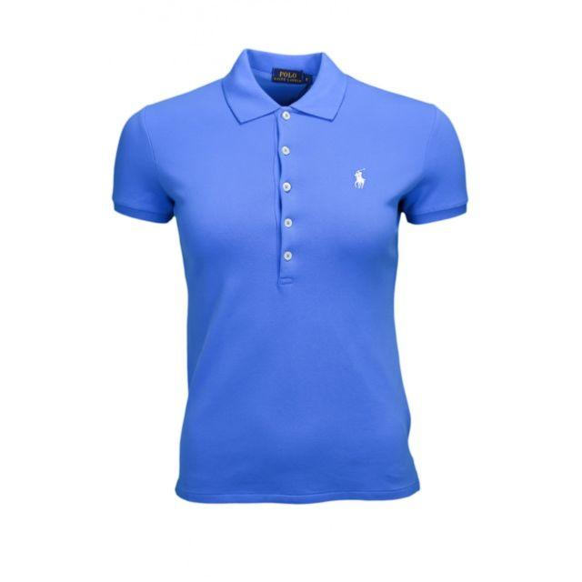 df2c3b09d451c0 Polo Julie 5 boutons bleu pour femme