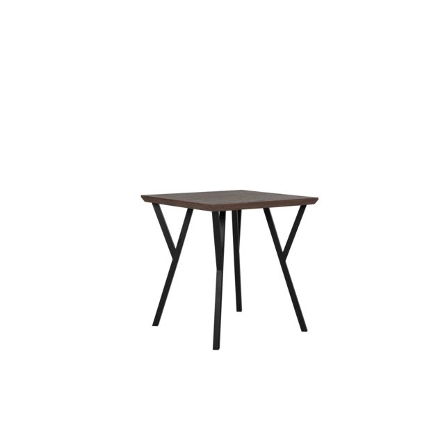 BELIANI Table 70 x 70 cm bois foncé et noir BRAVO - marron