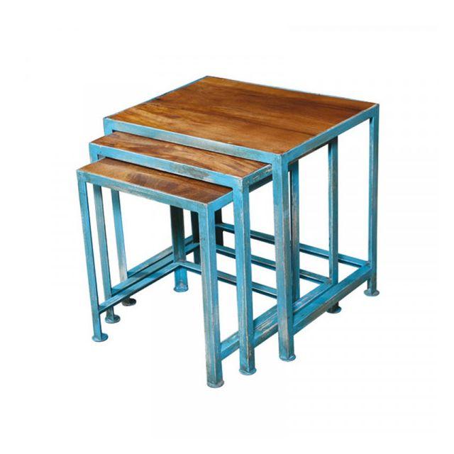 Dansmamaison Tables gigognes Acier et bois de Palissandre - Verden - L 58 x l 40 x H 51 cm