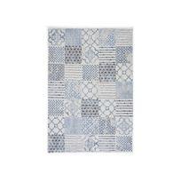 Mathilde Et Pauline - Tapis 100% polypropylène effet laineux motif carreau de ciment bleu/blanc Atena - 160x230cm