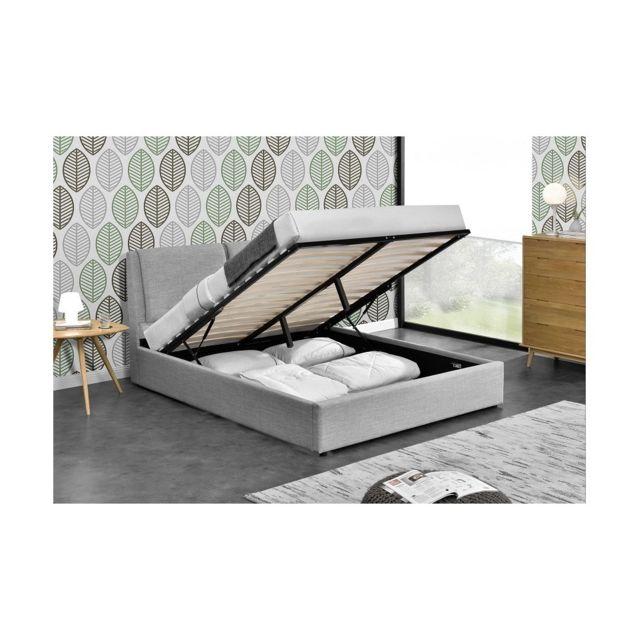 fournier decoration borg lit coffre lin gris clair 140x190 cm - Lit Coffre Pas Cher