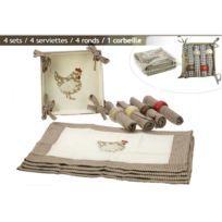 Revimport - Sets de table Tissu 13 P vichy brun décor Poule