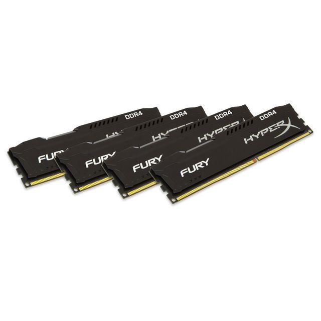 HYPERX Fury 32 Go 4 x 8 Go DDR4 2400 MHz Cas 15 Mémoire PC Kingston HyperX Fury DDR4 4 x 8 Go - Fréquence 2400 MHz - Cas 15 - Compatible avec les chipsets Intel X99 - Compatible Intel XMP - Garantie constructeur de 10 ans