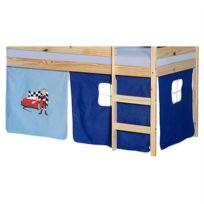 IDIMEX - Lot de rideaux cabane pour lit surélevé superposé mi-hauteur mezzanine tissu coton motif auto bleu