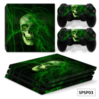 G-motions - Sticker console Ps4 Pro 2 stickers manettes inclus, Green Skull
