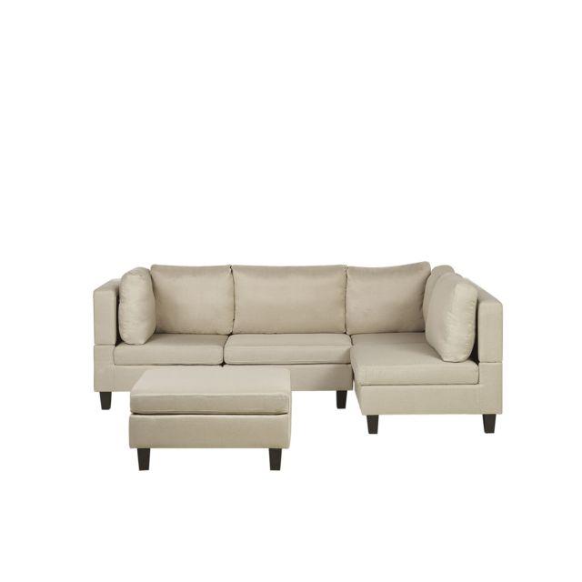 BELIANI Canapé angle modulable 4 places en tissu beige avec pouf ottoman FEVIK - beige