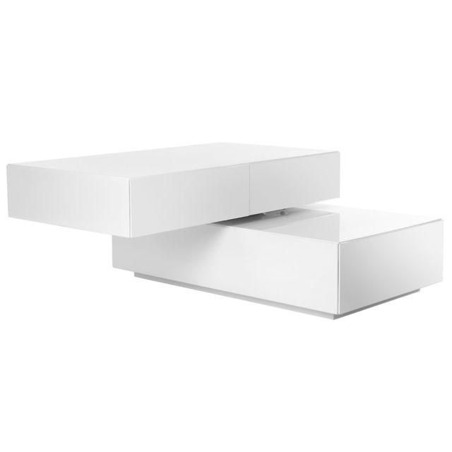 Miliboo Table basse design pivotante 4 tiroirs blanc Elea