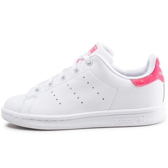 a5be21a0140ca Adidas originals - Stan Smith Enfant Blanche Et Rose Iridescent ...