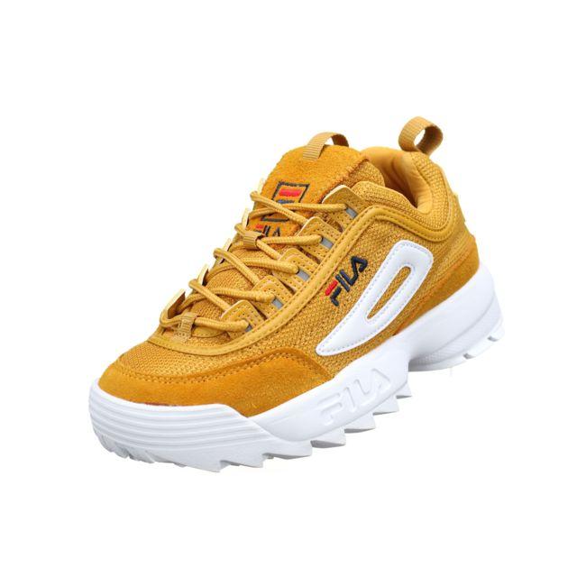 chaussures fila disruptor jaune moutarde