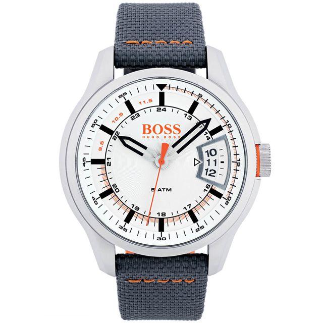 nouvelle collection 439f9 a1f8e Montre Hugo Boss Orange en Cuir Gris