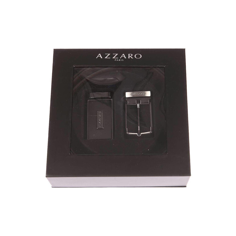 958773c74ca AZZARO- Coffret cadeau   ceinture en cuir noir réversible marron à boucle  pleine argentée et