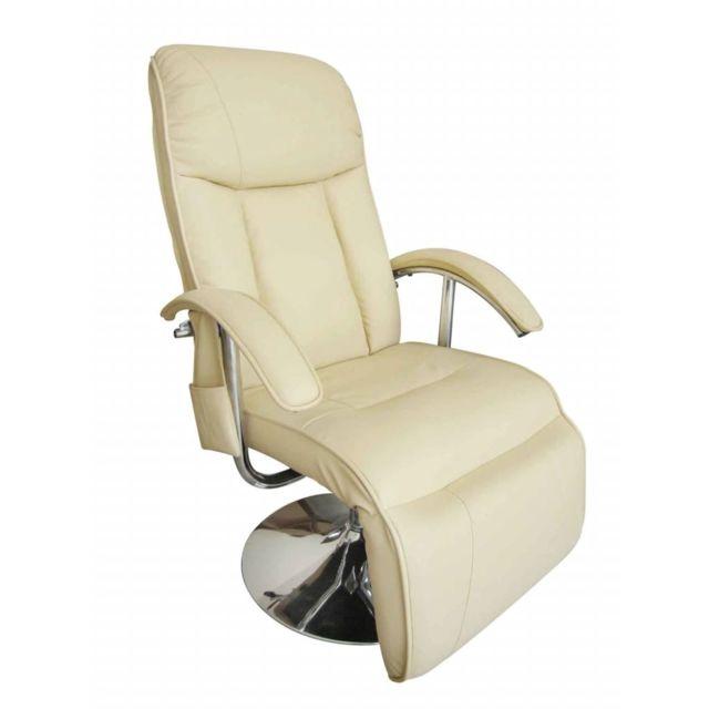 Magnifique Fauteuils serie Bichkek Fauteuil de massage électrique Cuir artificiel Crème