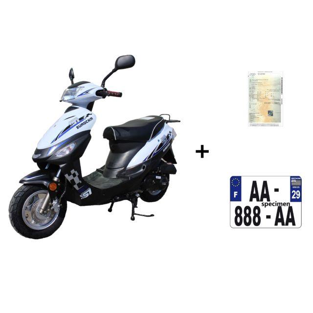 eurocka scooter cka city 50cc 4t noir blanc immatriculation achat vente scooters 50 pas. Black Bedroom Furniture Sets. Home Design Ideas