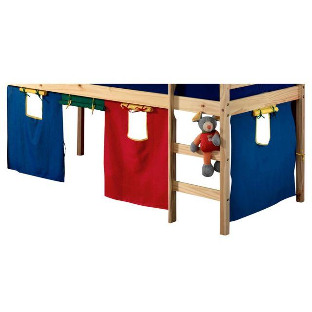 IDIMEX Rideaux ERIK pour lit superposé ou lit surélevé cabane tente, en coton 4 couleurs rouge vert bleu et jaune