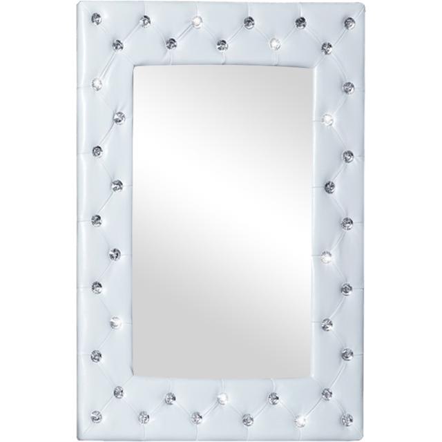 COMFORIUM Miroir mural pvc blanc capitonné de strass