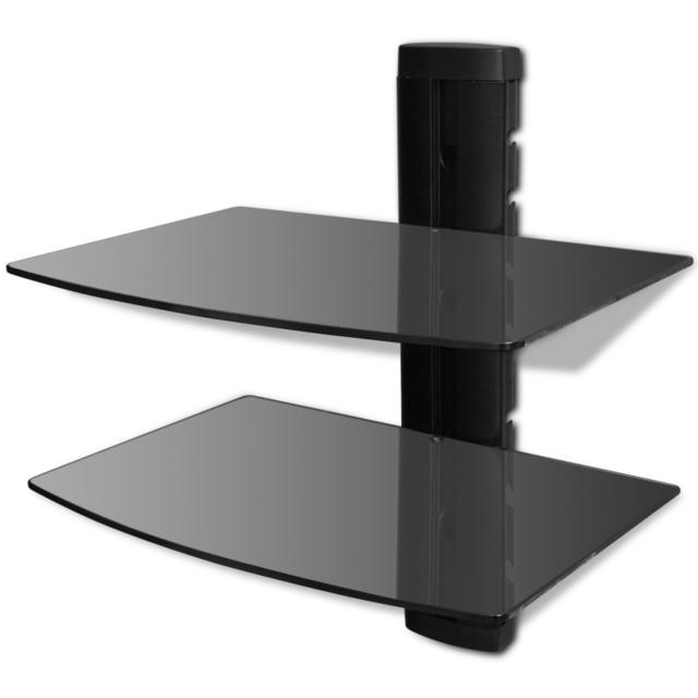 Vidaxl Étagère murale noire à 2 tablettes en verre pour Dvd