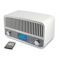 CALIBER AUDIO TECHNOLOGY - Radio-réveil rétro vintage blanc FM/DAB+ Bluetooth