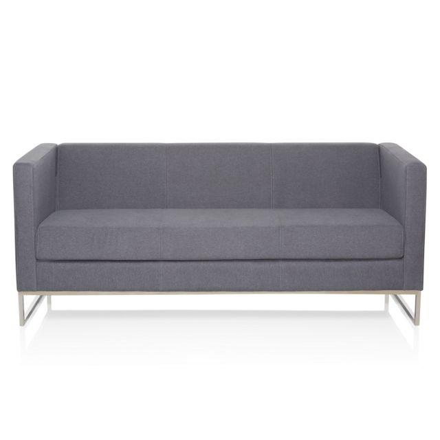 Canapé de salon Barbados Cadre tissu en acier inoxydable 3 places gris foncé