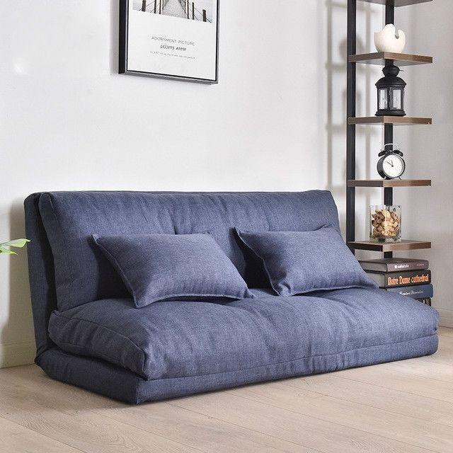 Wewoo Fauteuil Petit canapé-lit double multifonctionnel pliant 120cm bleu foncé