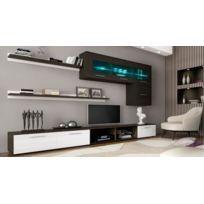 Comfort - Home Innovation – Ensemble de meubles, meuble de salon unité murale, Meuble bas Tv, salle à manger, ensemble de séjour Contemporain avec ilumination Led, Blanc Laqué et Wengué