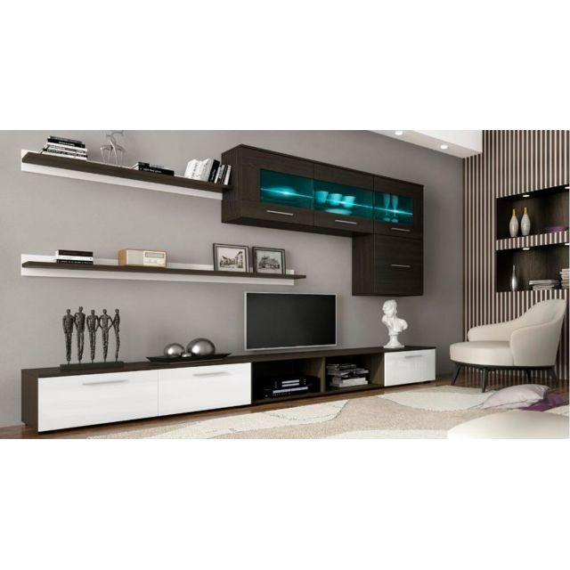 Comfort - Home Innovation – Ensemble de meubles, meuble de salon unité murale, Meuble bas Tv, salle à manger, ensemble de séjour Contemporain avec ilumination Led, Blanc Laqué et Wengué Wengué. Blanc laqué