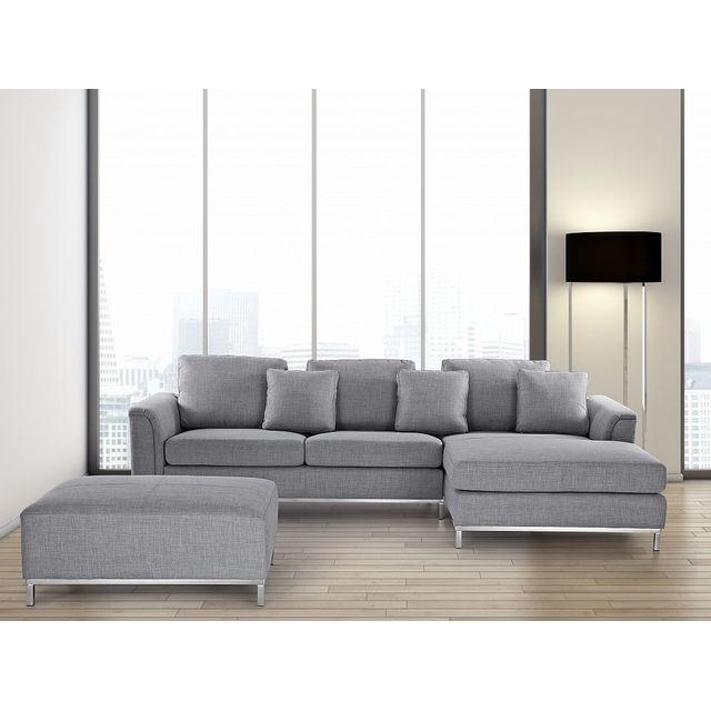 beliani canap dangle g canap avec pouf en tissu gris clair sofa oslo 270cm x 151cm x 64cm achat vente canaps pas chers rueducommerce - Canape Avec Pouf Integre