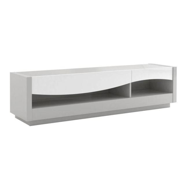 Tousmesmeubles Meuble Tv 2 tiroirs laqué Blanc/Gris - Ralf
